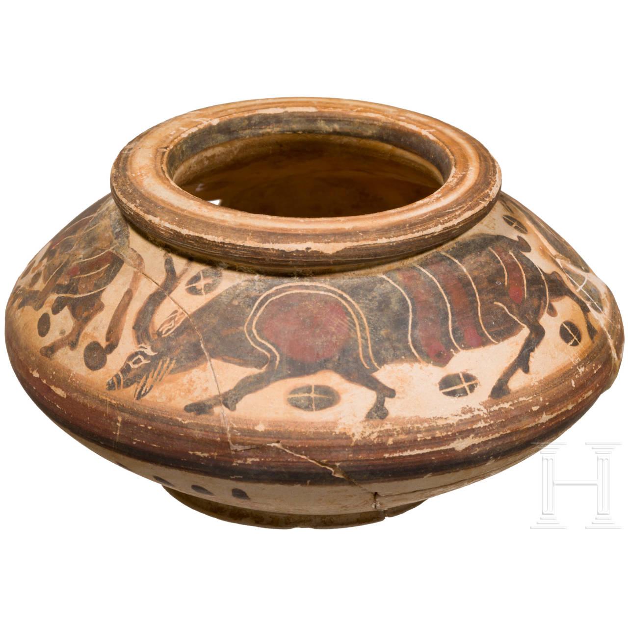Korinthische Pyxis, Griechenland, Ende 7. - frühes 6. Jhdt. v. Chr.