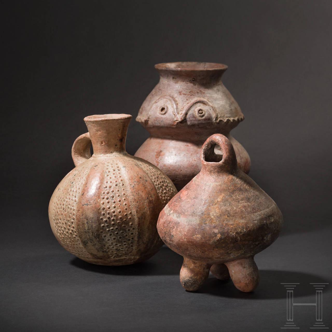 Drei rottonige Gefäße, Peru, präkolumbianisch