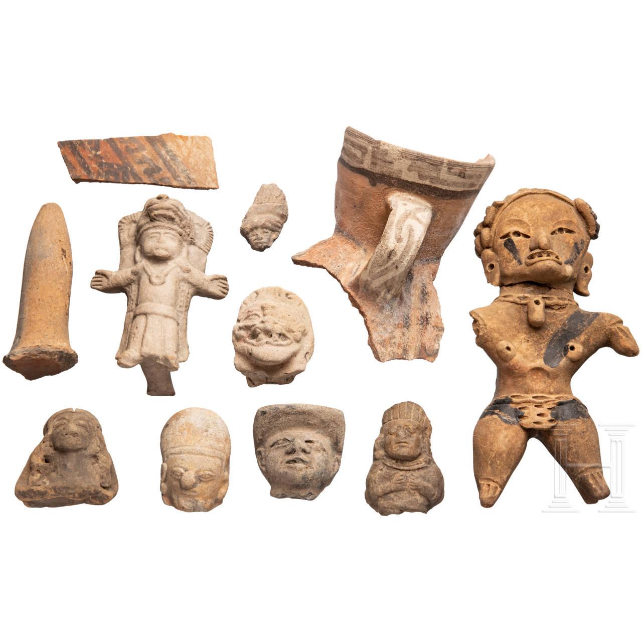 Elf Keramik- und Terrakottafragmente, Mittel- und Südamerika, präkolumbianisch