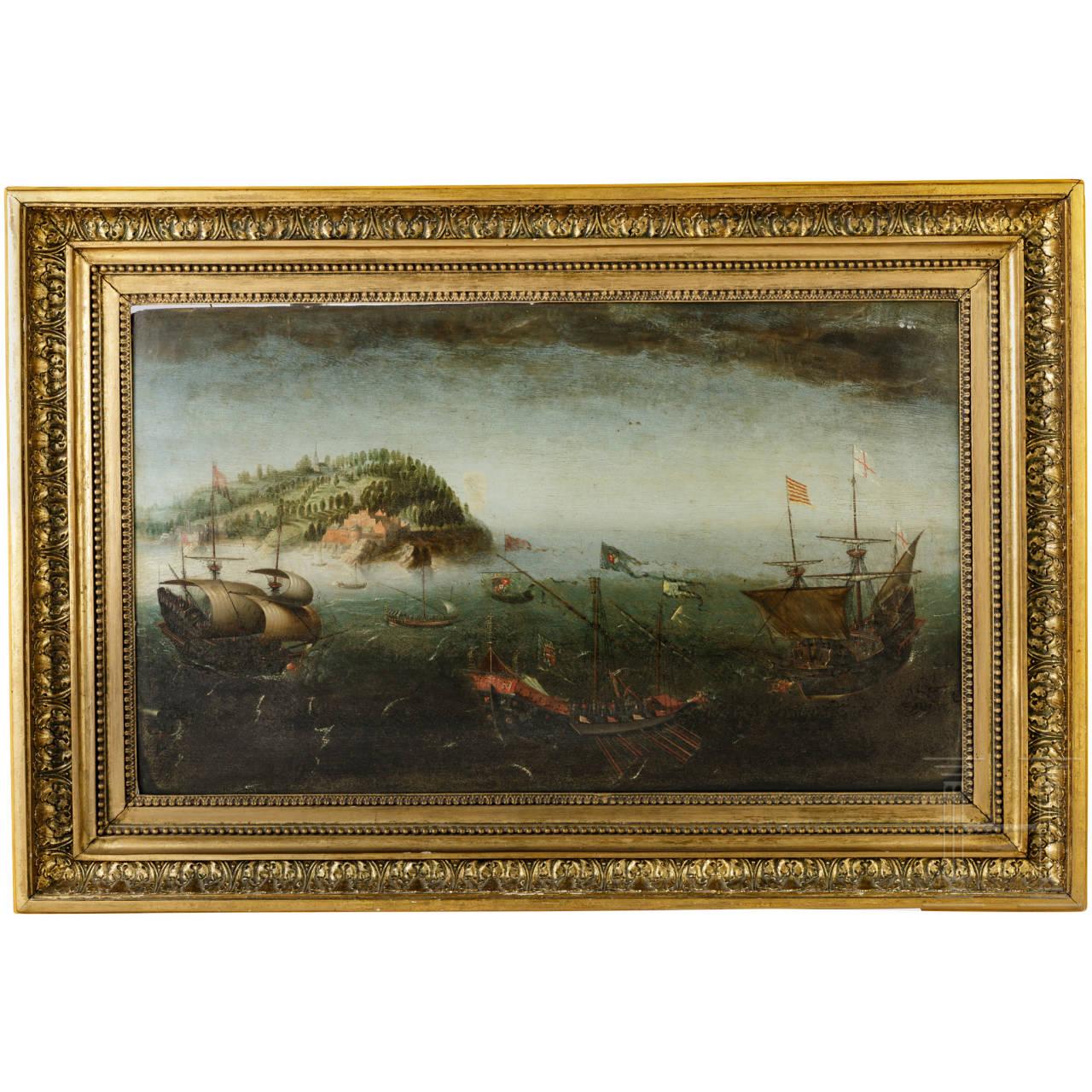 Gemälde Seeschlacht, Öl auf Holz, um 1600