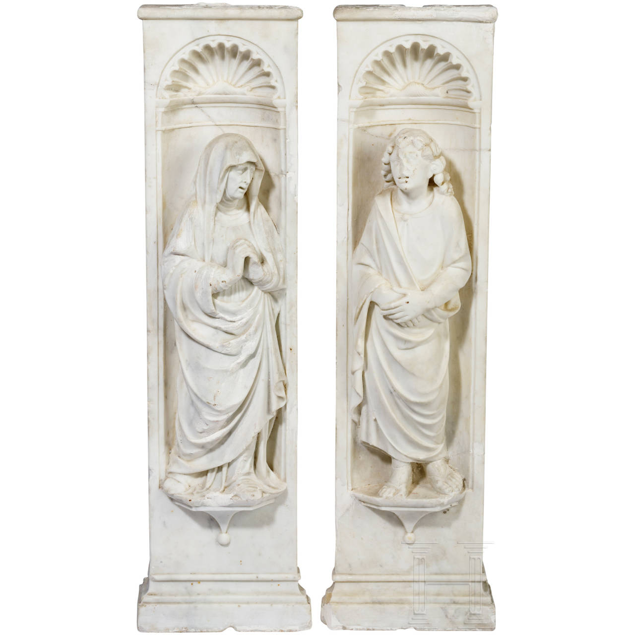 A rare pair of Italian Baroque depictions of saints, early 17th century