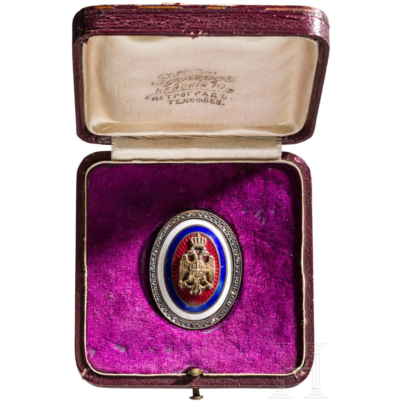 A Serbian Badge of Honour/cockade with diamond roses, Serbia/Russia, circa 1915