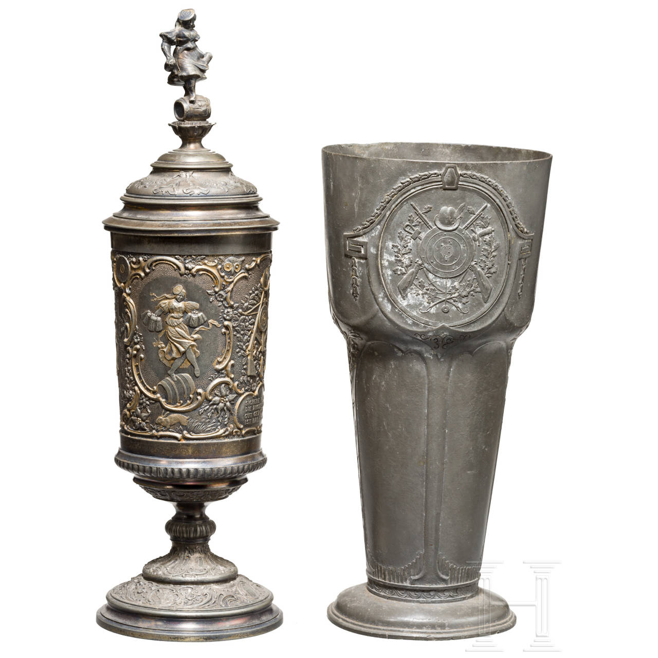 Two shooting trophies made of pewter