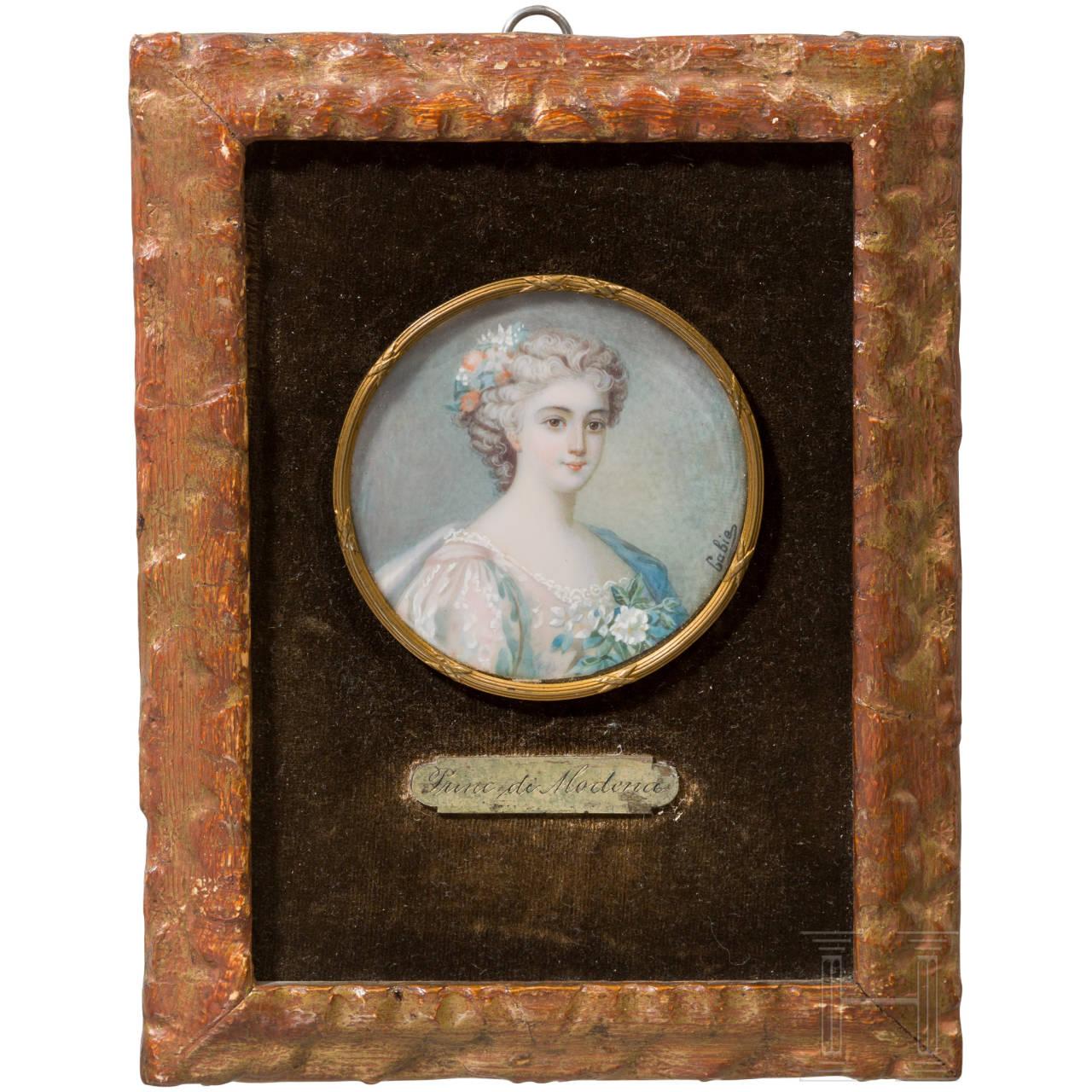 Enrichetta d'Este (1702-77) - miniature portrait of the Princess of Modena