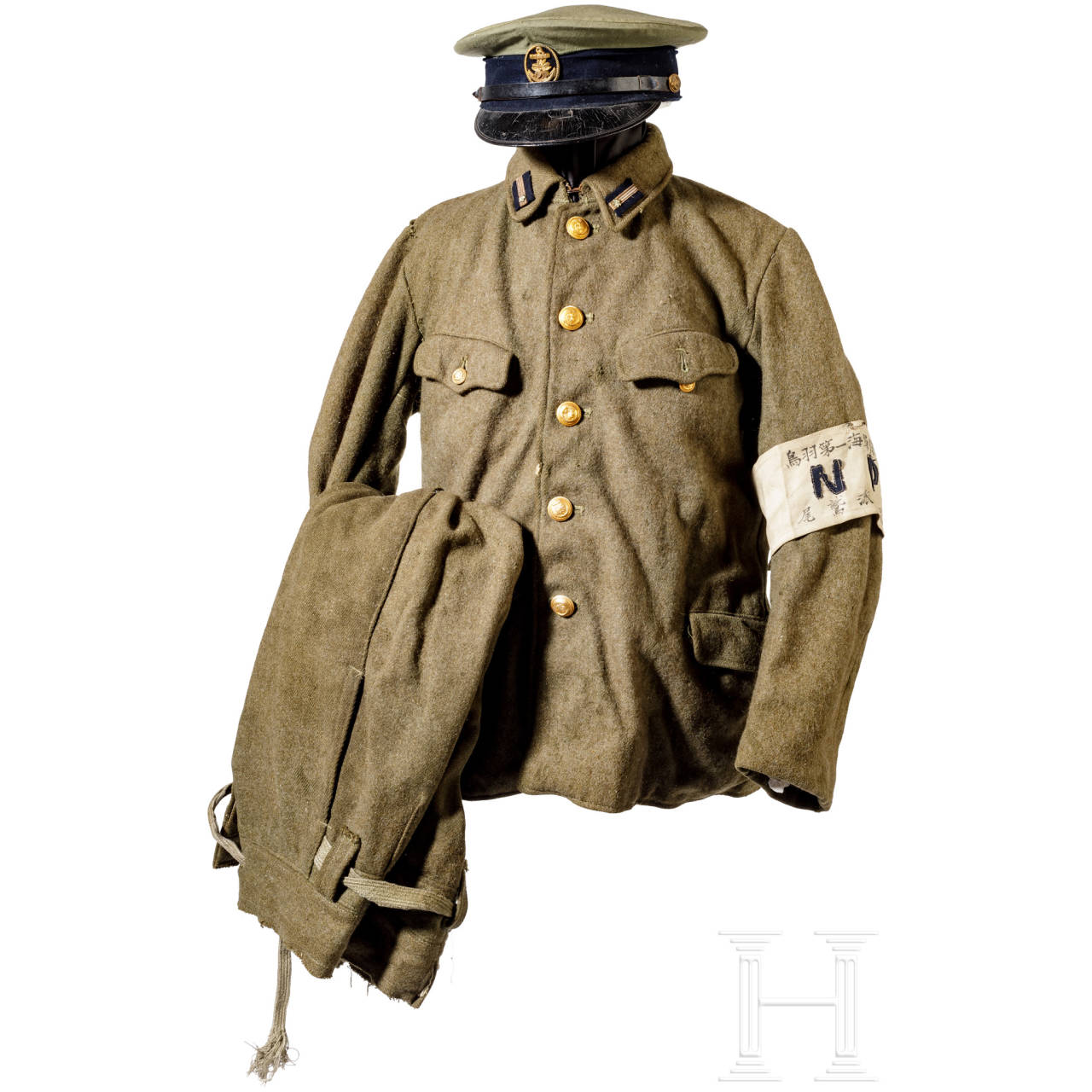 A uniform and equipment ensemble for a naval warrant officer, naval shore patrol, World War II