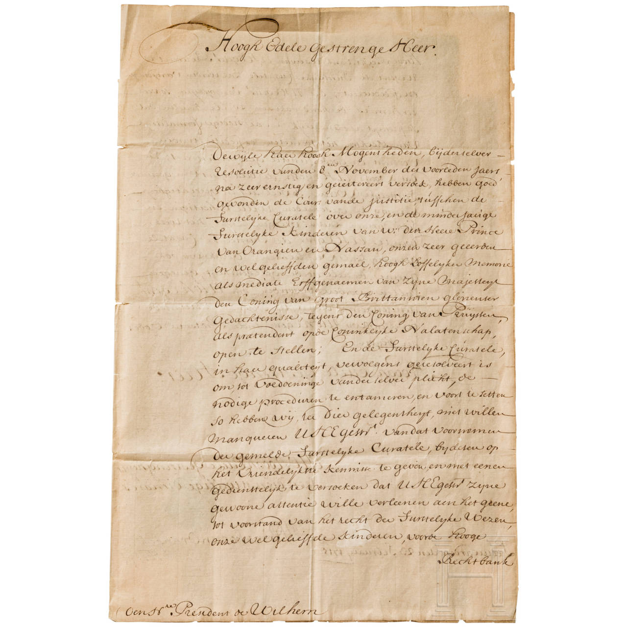 Marie Luise Princess of Orange (1688-1765) - Letter with signature, Leeuwarden, 23 February 1715