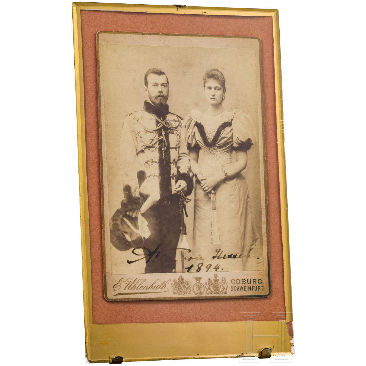 """Photo of Russian Tsar Nicholas II with Tsarina Alexandra Feodorovna, dated 1894 and autographed in ink """"Alice von Hessen 1894"""""""