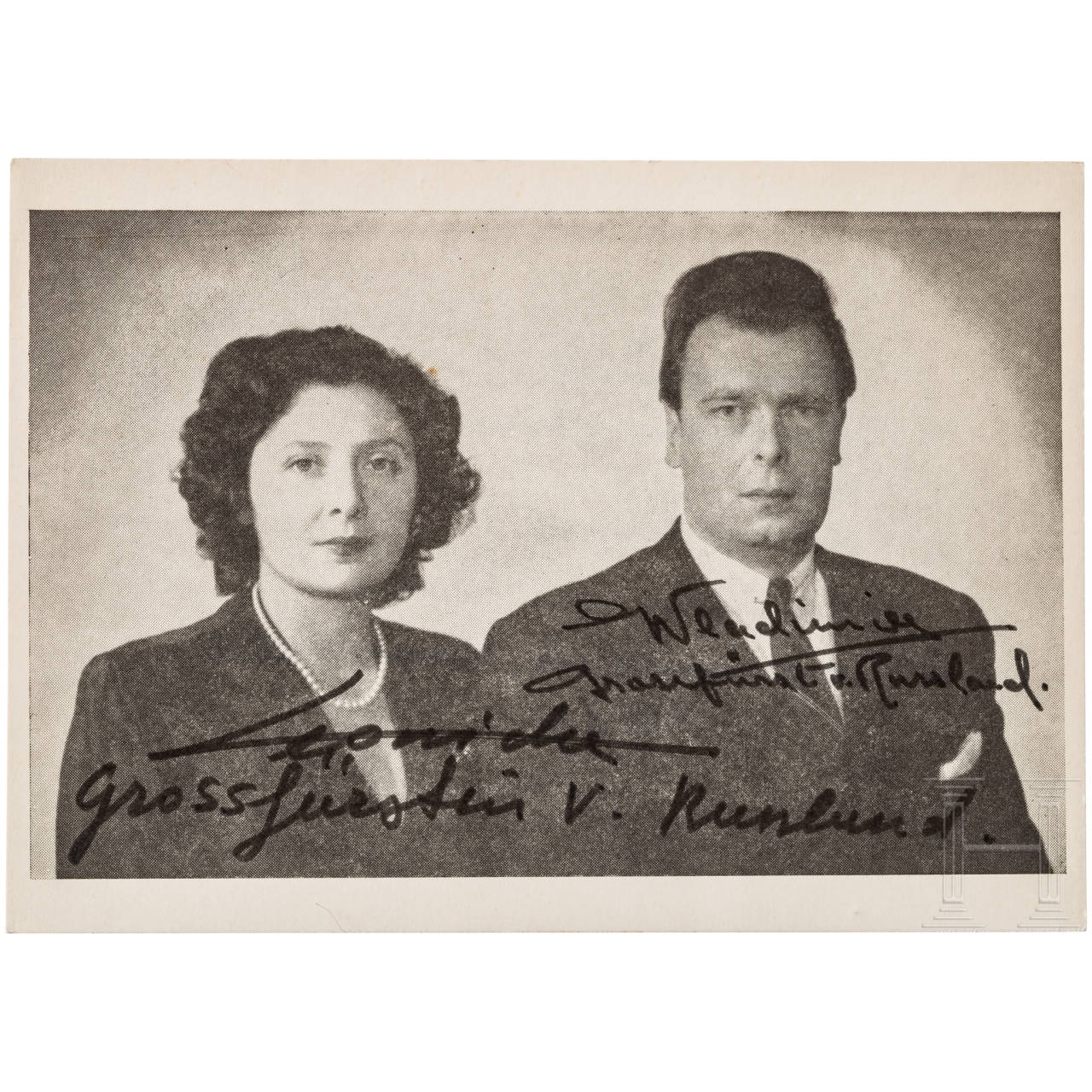 Vladimir Grand Prince of Russia with wife - photo print with autographs
