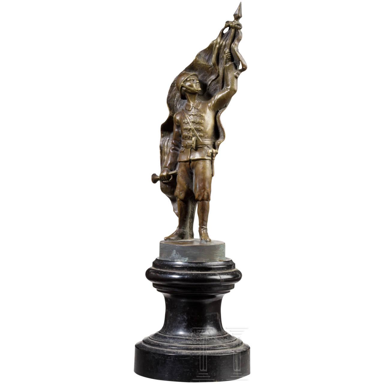 Bronze figure of a firefighter