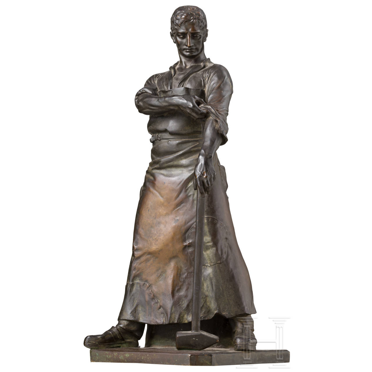 Large bronze figure of a blacksmith, c. 1910