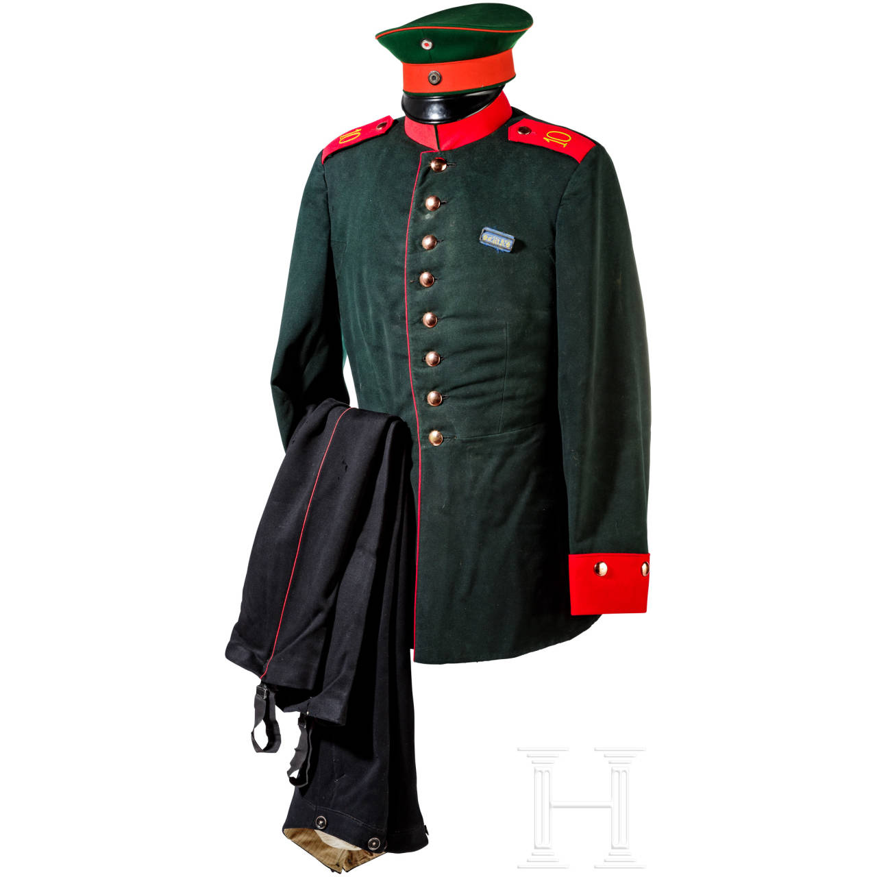 Uniform parts of the Hanoverian Hunter Battalion No. 10 and a knapsack
