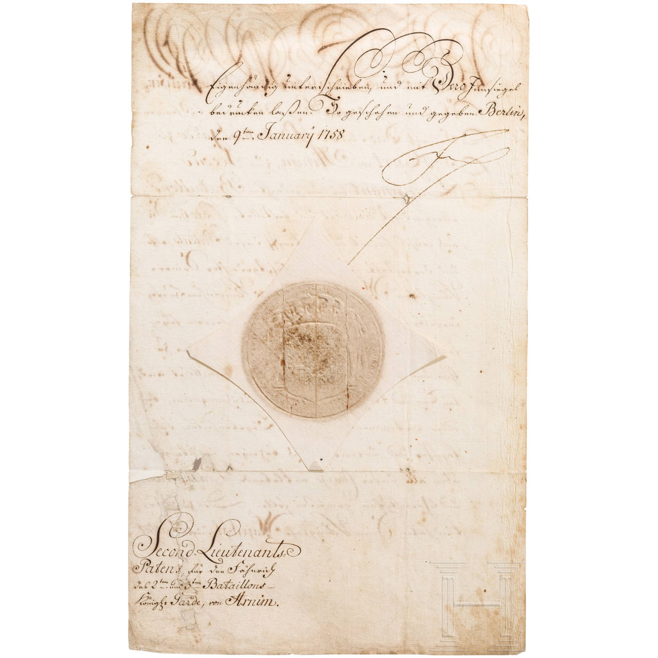 King Frederick II - personally signed patent as seconde lieutenant for Curt von Arnim 1758