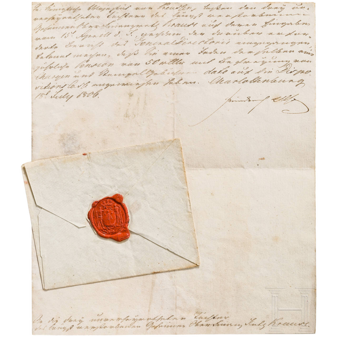 King Frederick William III of Prussia - personally signed letter of 15 July 1806
