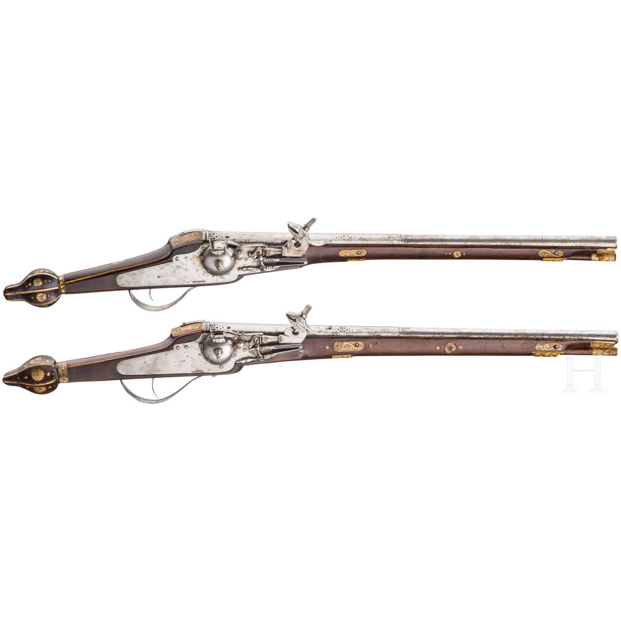 A pair of long wheellock pistols (3rd model) of the trabant guard of Christian II of Saxony, Hans Stockmann, Dresden, circa 1610