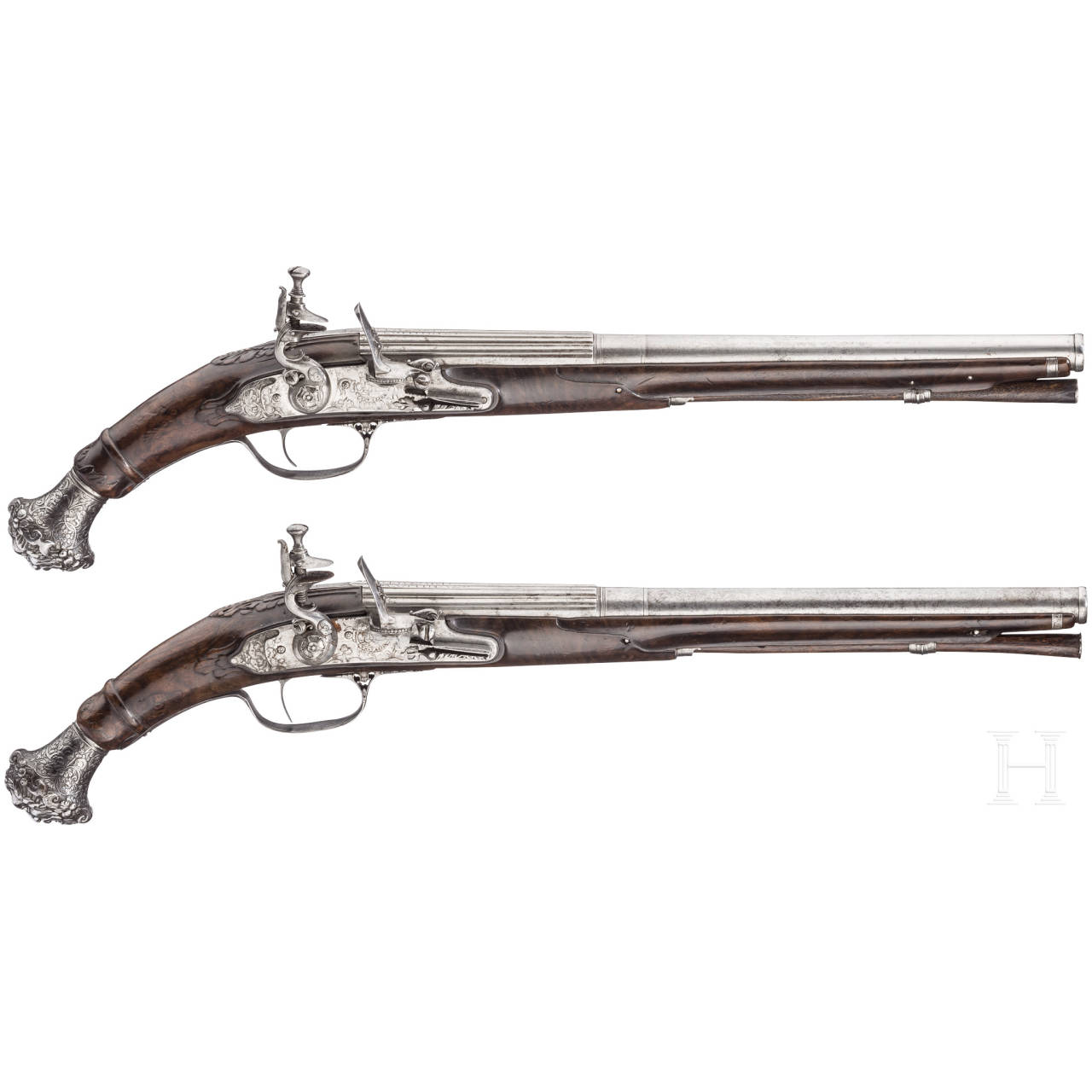 A pair of deluxe chiselled flintlock pistols, Cunet, Lyons, ca. 1660