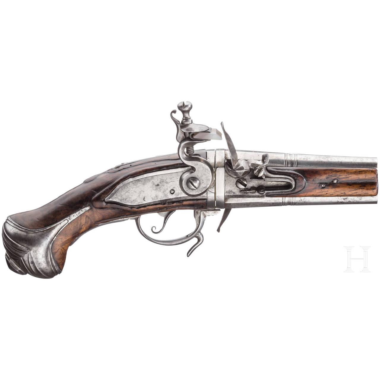 A French (?) turnover-flintlock pistol, circa 1700