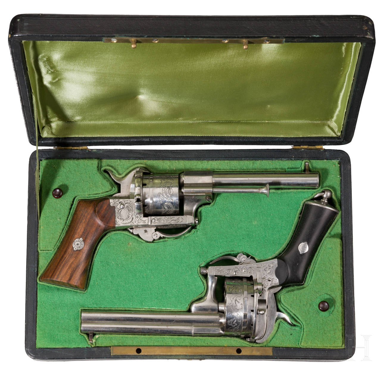 Two cased six-shot and one 18-shot pinfire revolvers, Belgium, ca. 1860