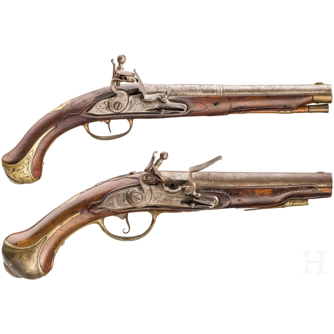Two flintlock pistols, 18th century
