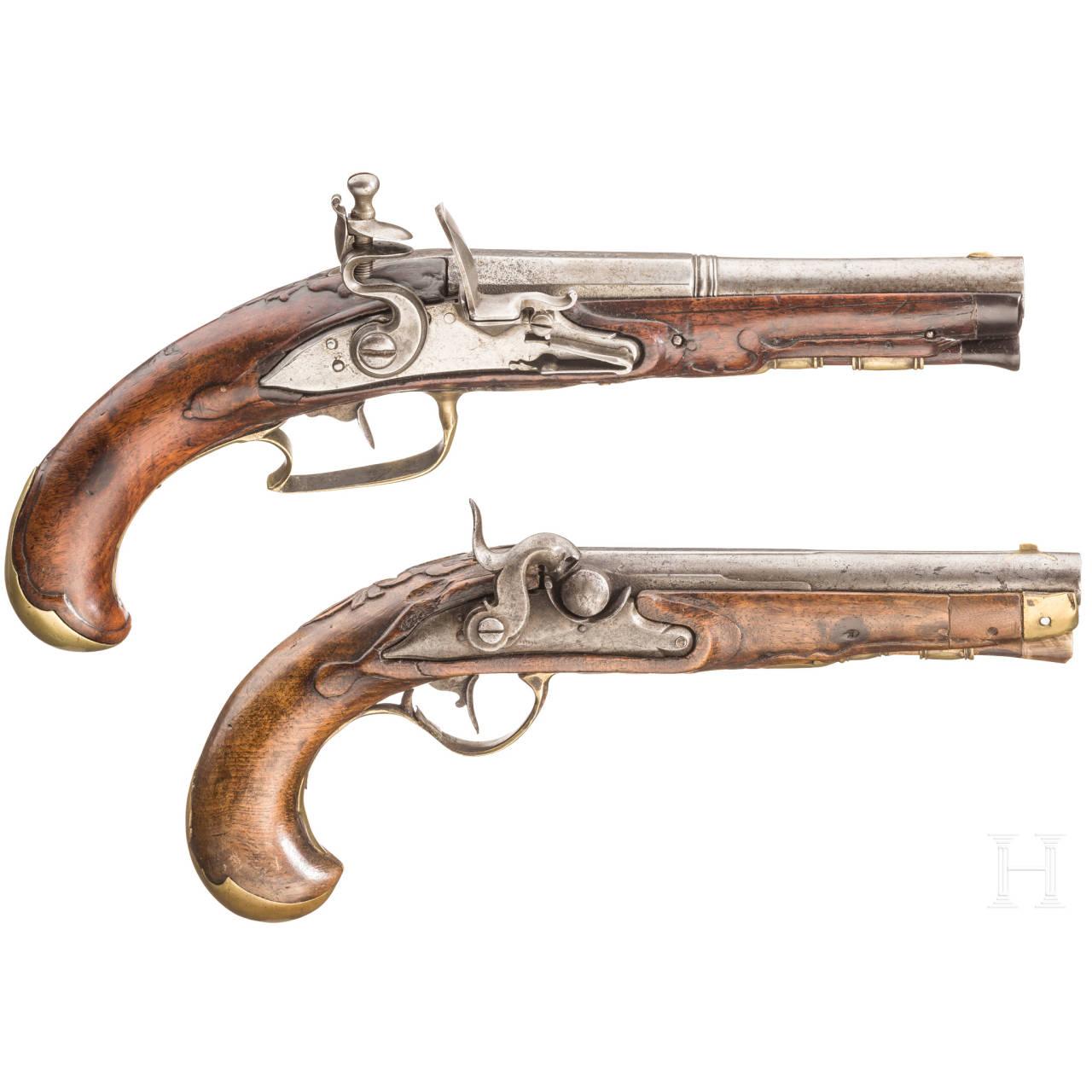 A German flintlock and a percussion pistol, ca. 1780