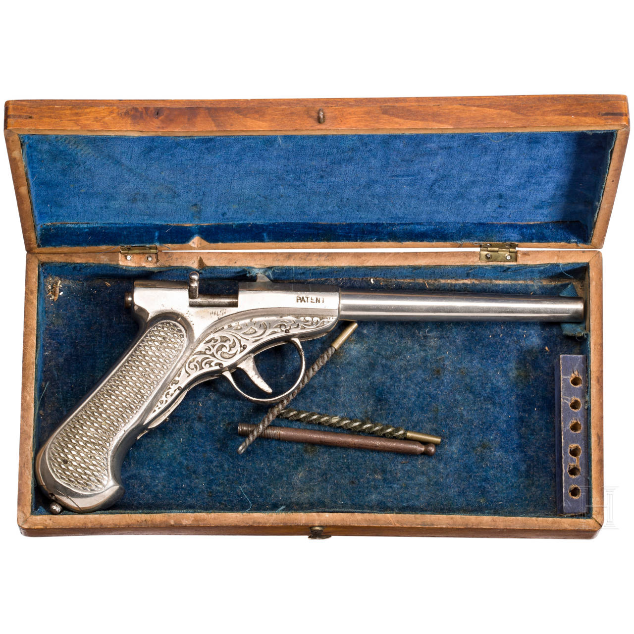 A cased Flürscheim air pistol, German, ca. 1880