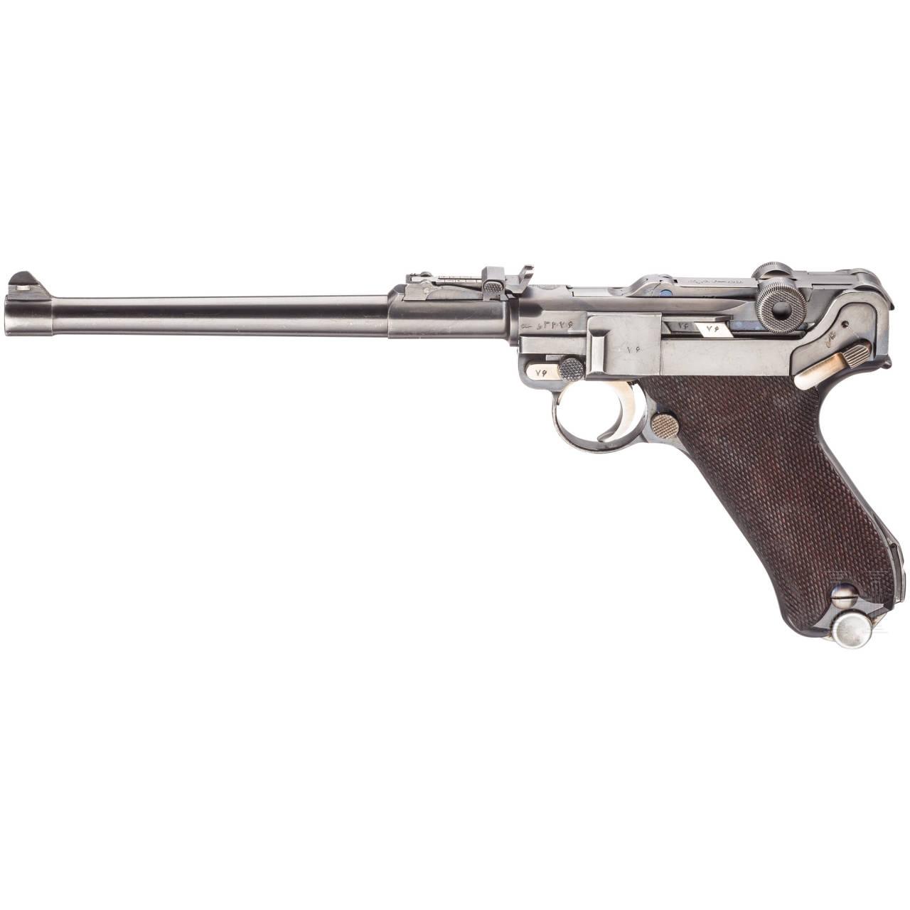 Lange Parabellum Mauser 1935/36, mit Brett und Tasche