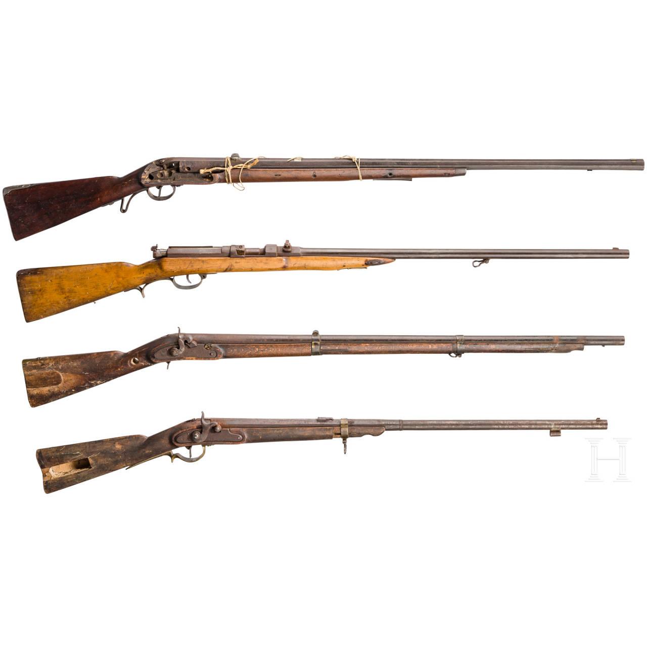 Vier jagdlich abgeänderte Gewehre, 19. Jhdt.