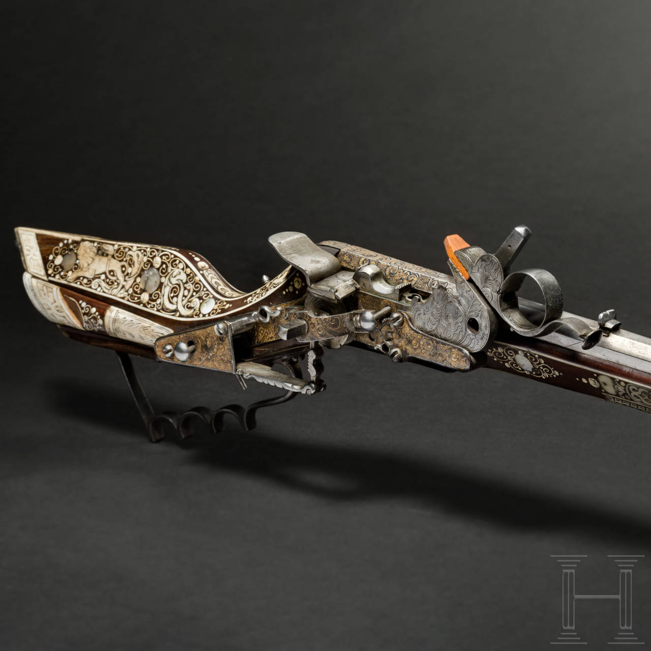 A gilt deluxe birding rifle (Teschinke) with rich bone inlays, Cieszyn, circa 1650
