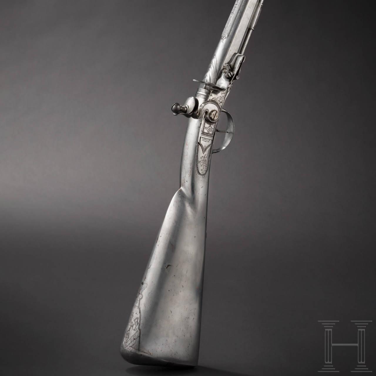 A significant all-metal flintlock rifle, Johann Glett, Passau, circa 1680/90