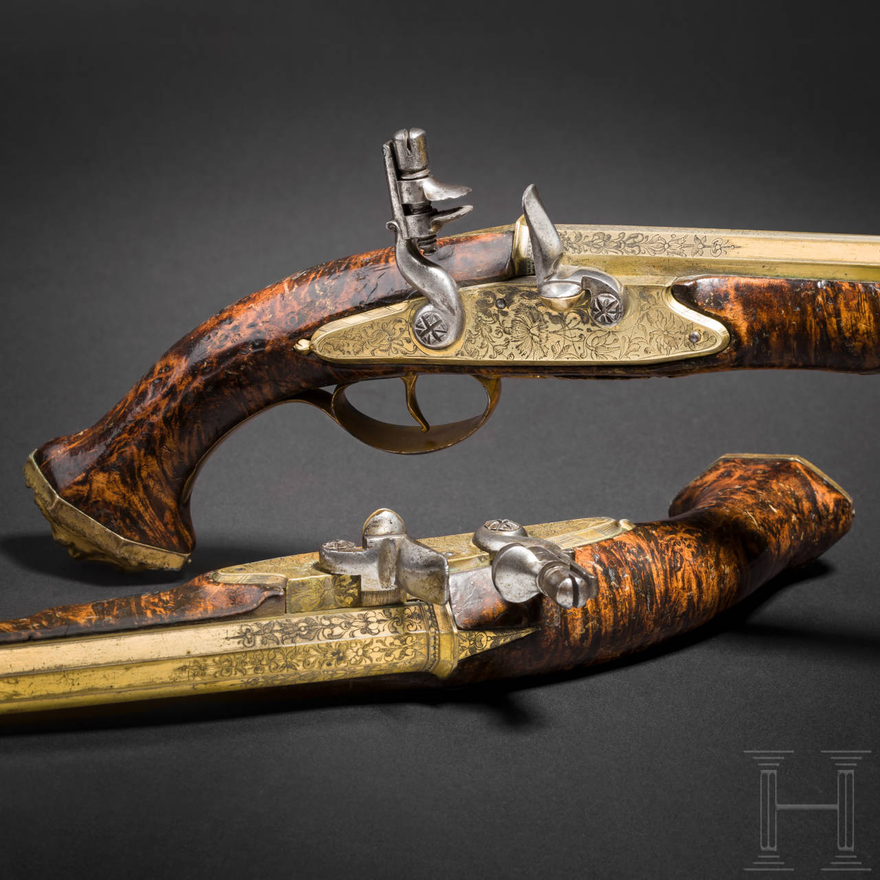 An extremely rare pair of flintlock pistols with brass barrels, Felix Werder, Zurich, circa 1660 and later