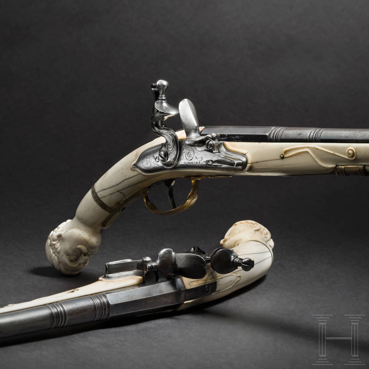 A pair of Dutch flintlock pistols with ivory stocks, circa 1690