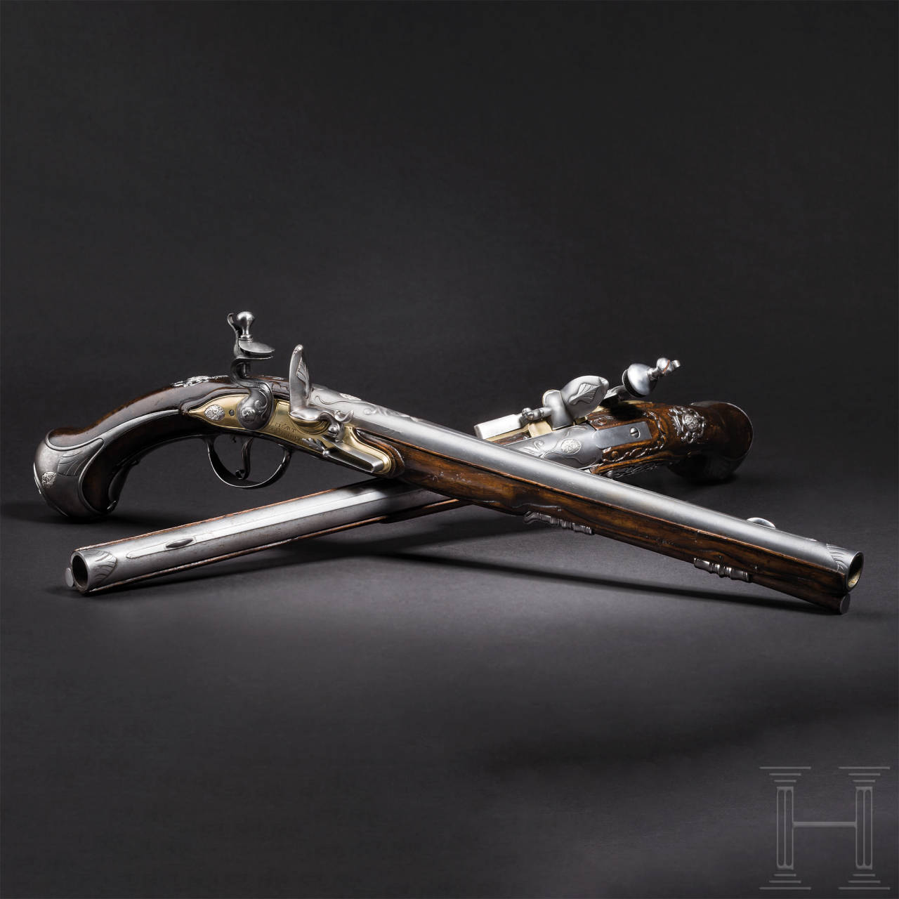 A pair of long flintlock pistols, Picart, Öhringen/Württemberg, ca. 1710