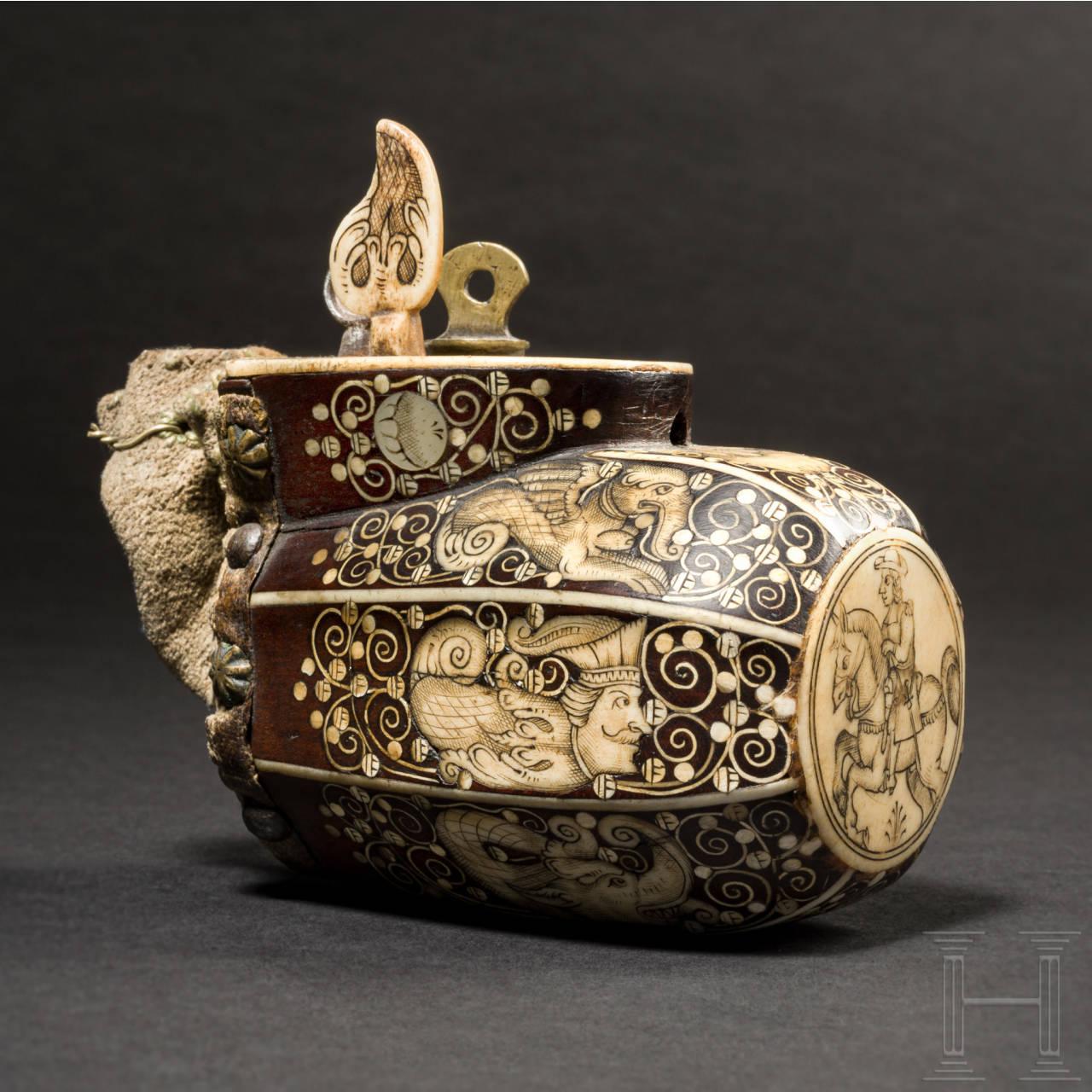 A Cieszyn powder flask with fine bone inlays, for a teschinke, circa 1660
