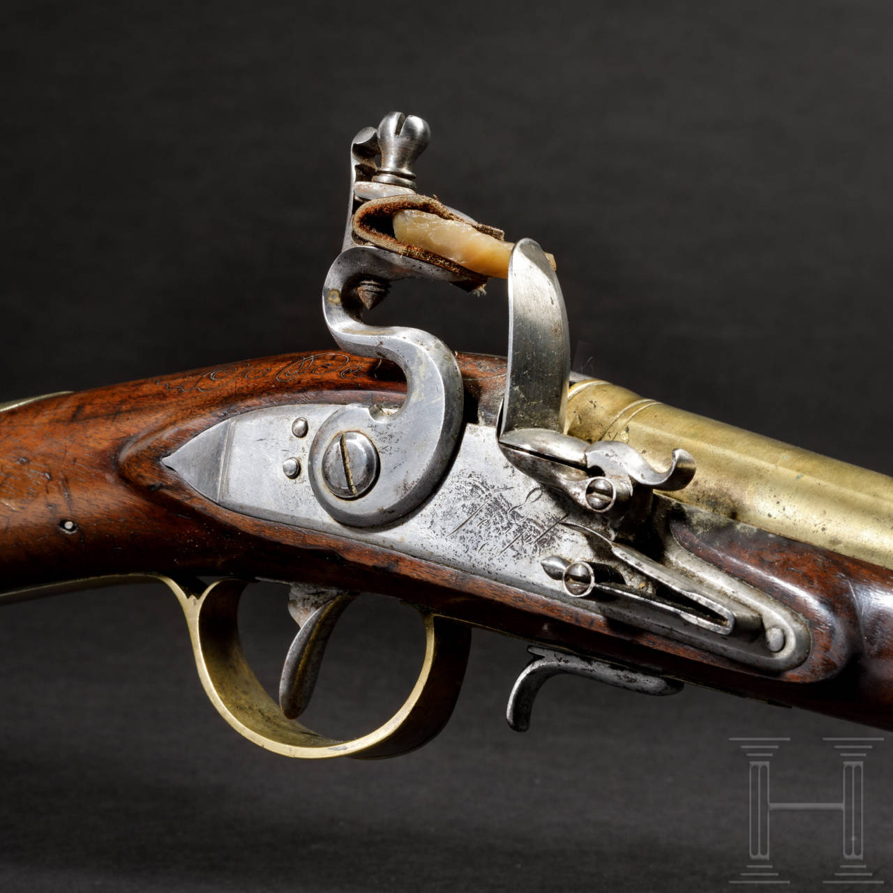 A blunderbuss with spring loaded bayonet, end of 18th century