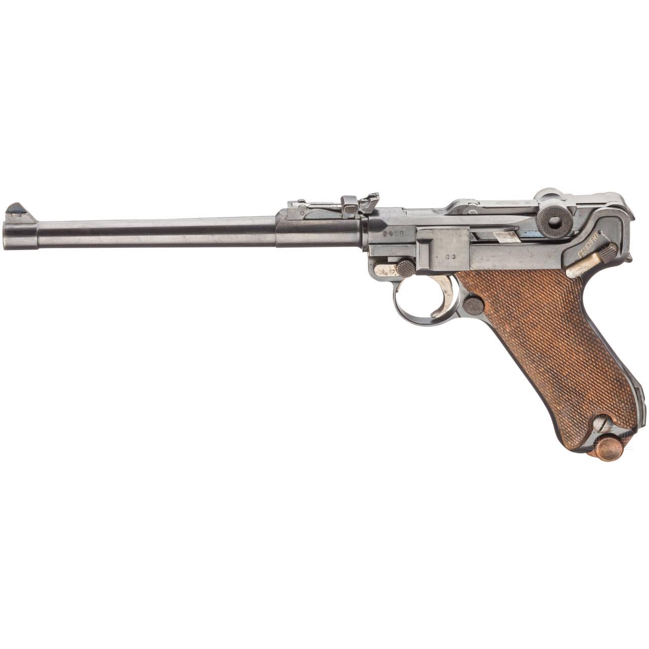 Lange Pistole 08, DWM 1917, im Kasten