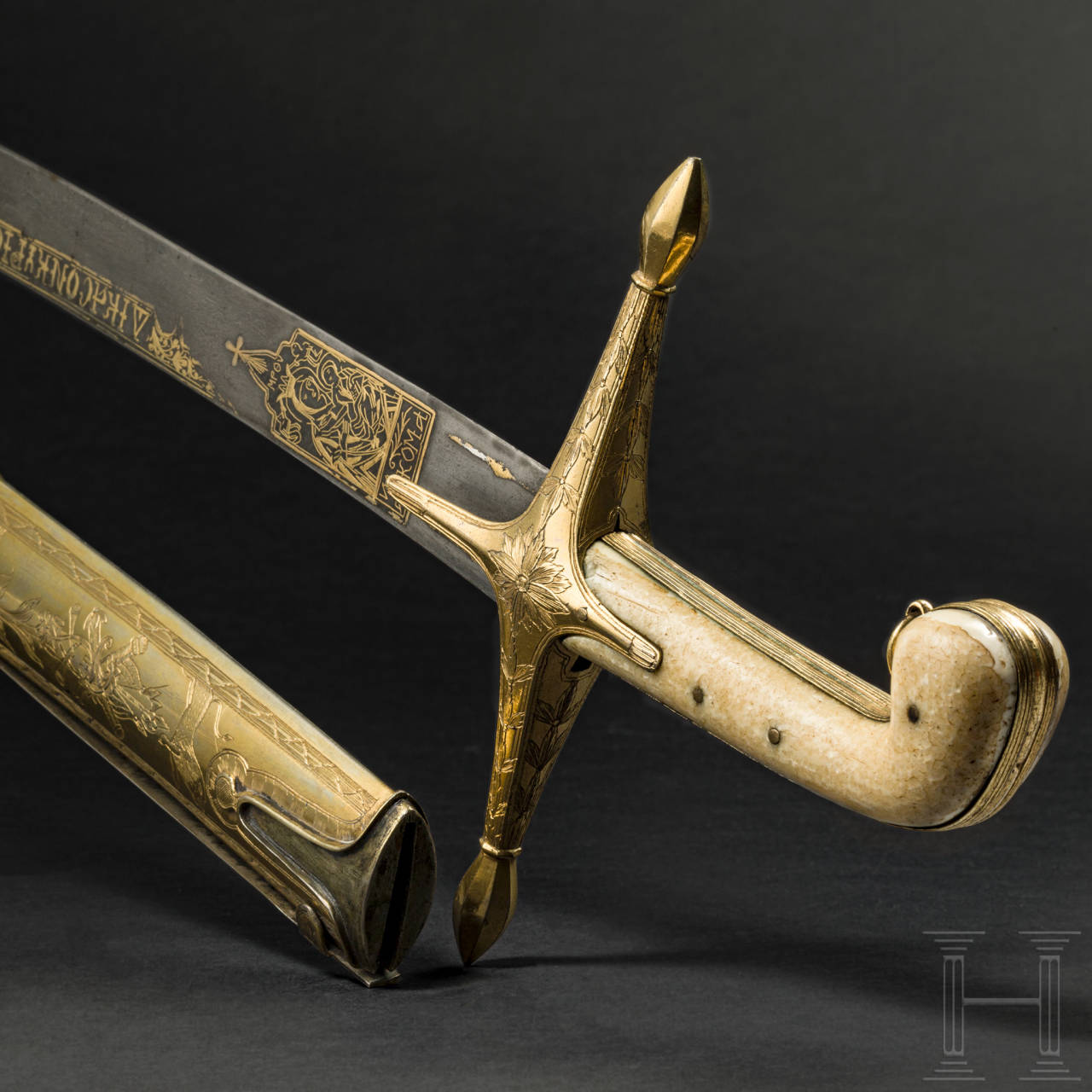 A Greek silver-mounted and gilt kilij, end of the 18th century