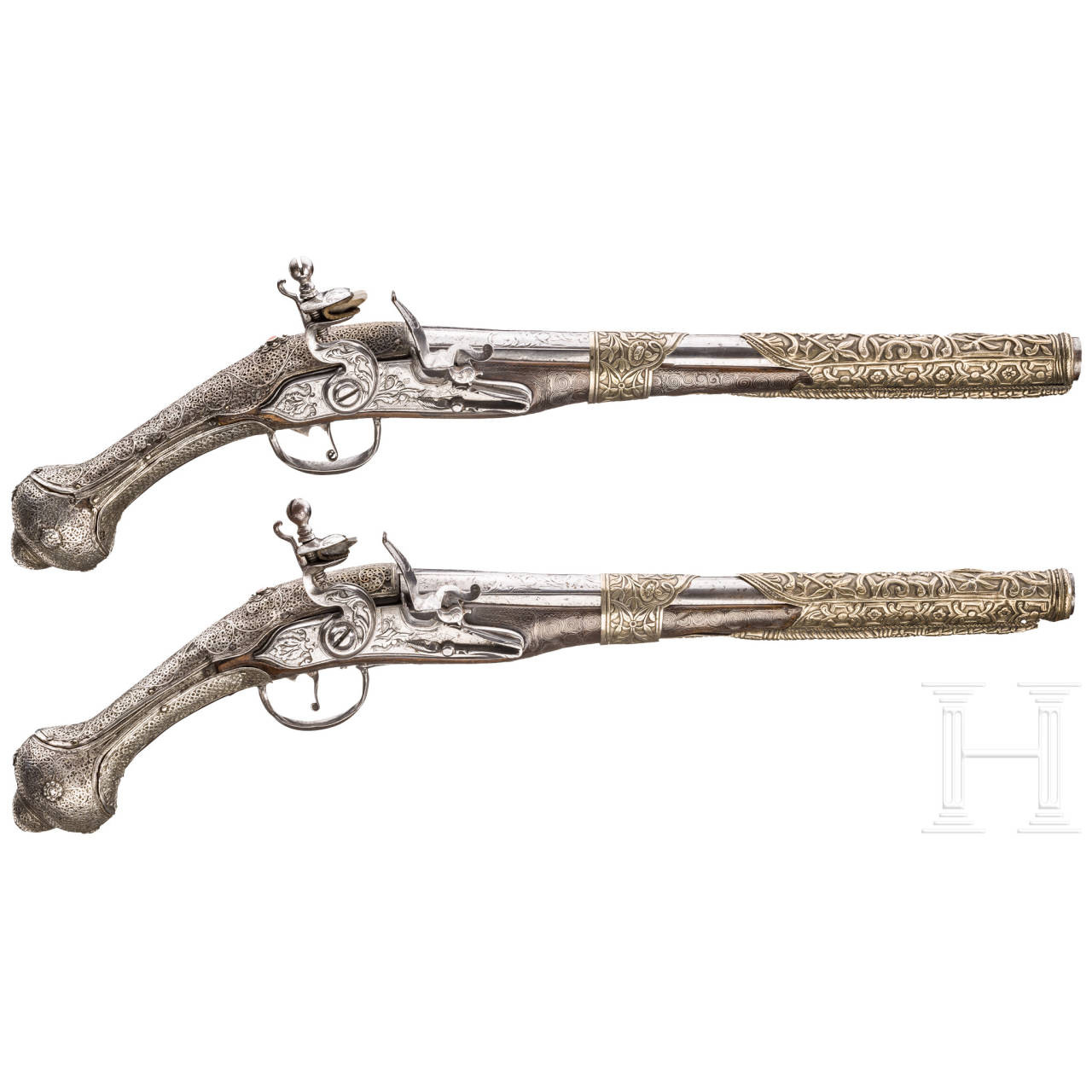 A pair of Balkan-Turkish flintlock pistols, embellished with silver filigree, dated 1802