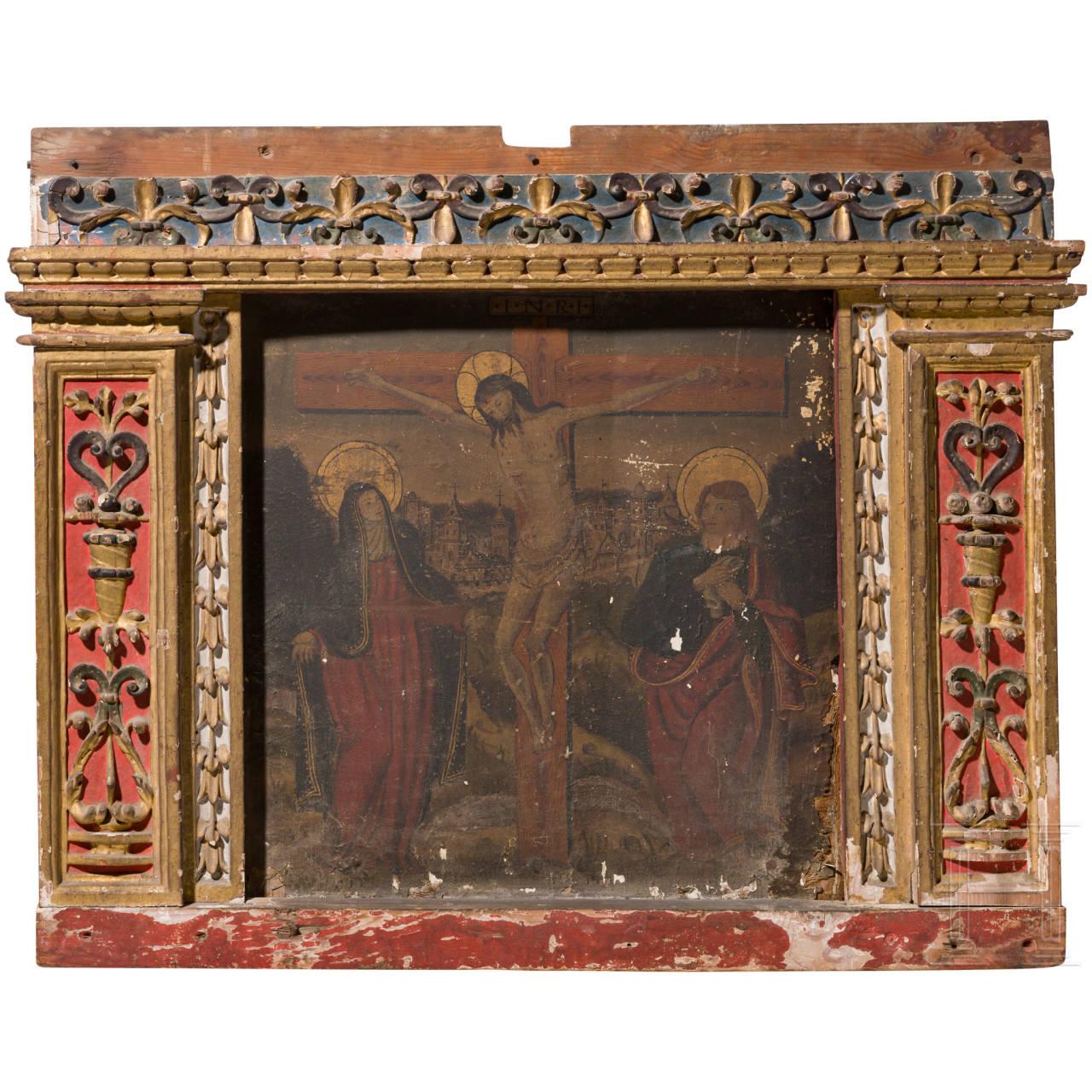 Tafelbild, Kreuzigung Christi, flämisch, 2. Hälfte 15. Jhdt.