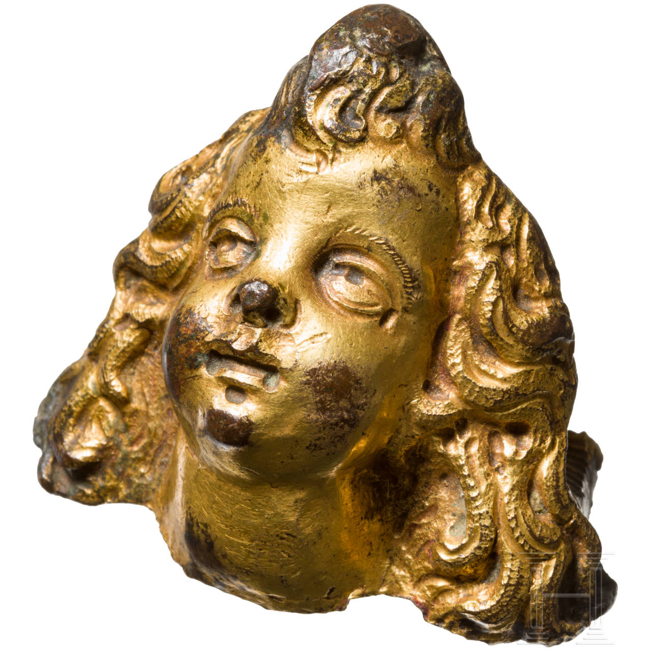 Vergoldetes Putto-Köpfchen, Italien, 16. Jhdt.