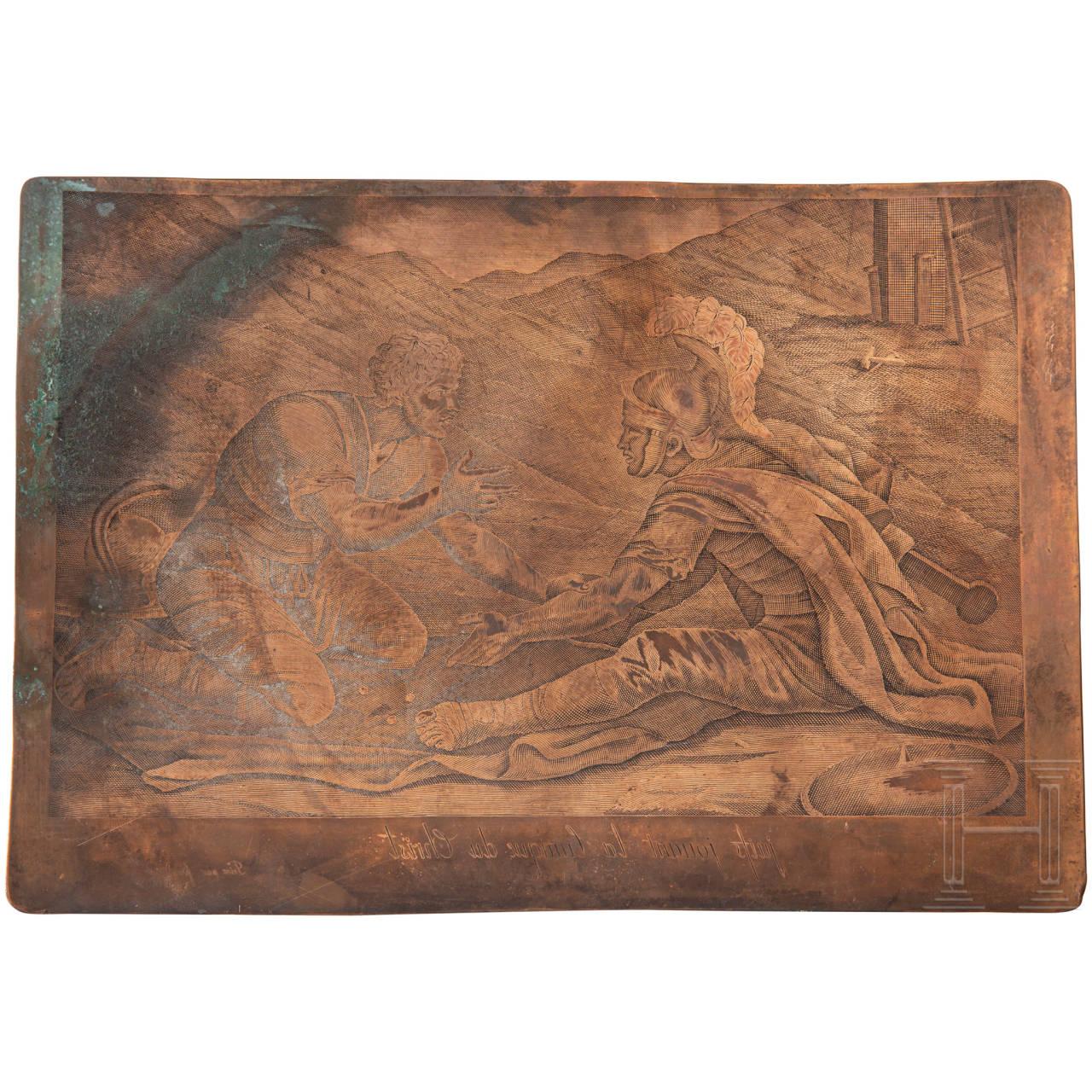 Gravierte Kupferdruckplatte, Frankreich, 18. Jhdt.