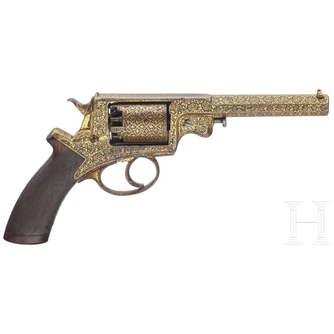 Goldtauschierter Revolver System Adams im Kasten, dazu ein Säbel Pattern 1822 für Offiziere der Schweren Kavallerie, England 1867