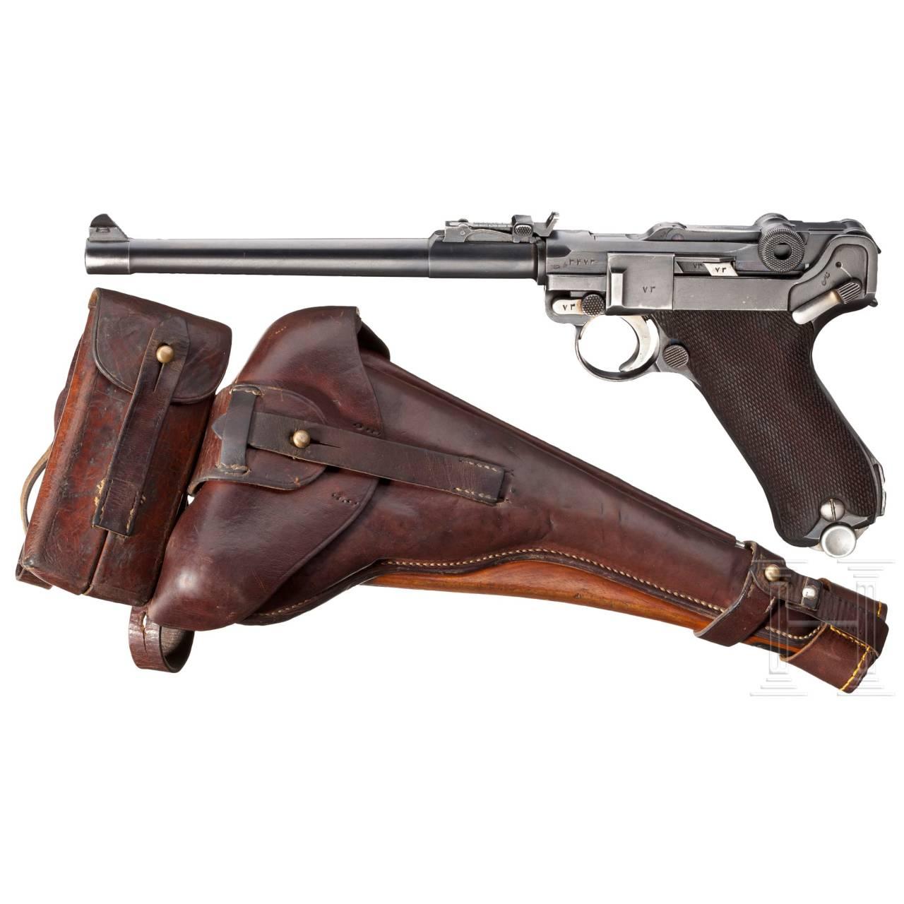 Lange Pistole 08, mit Holster, Doppelmagazintasche und Anschlagschaft