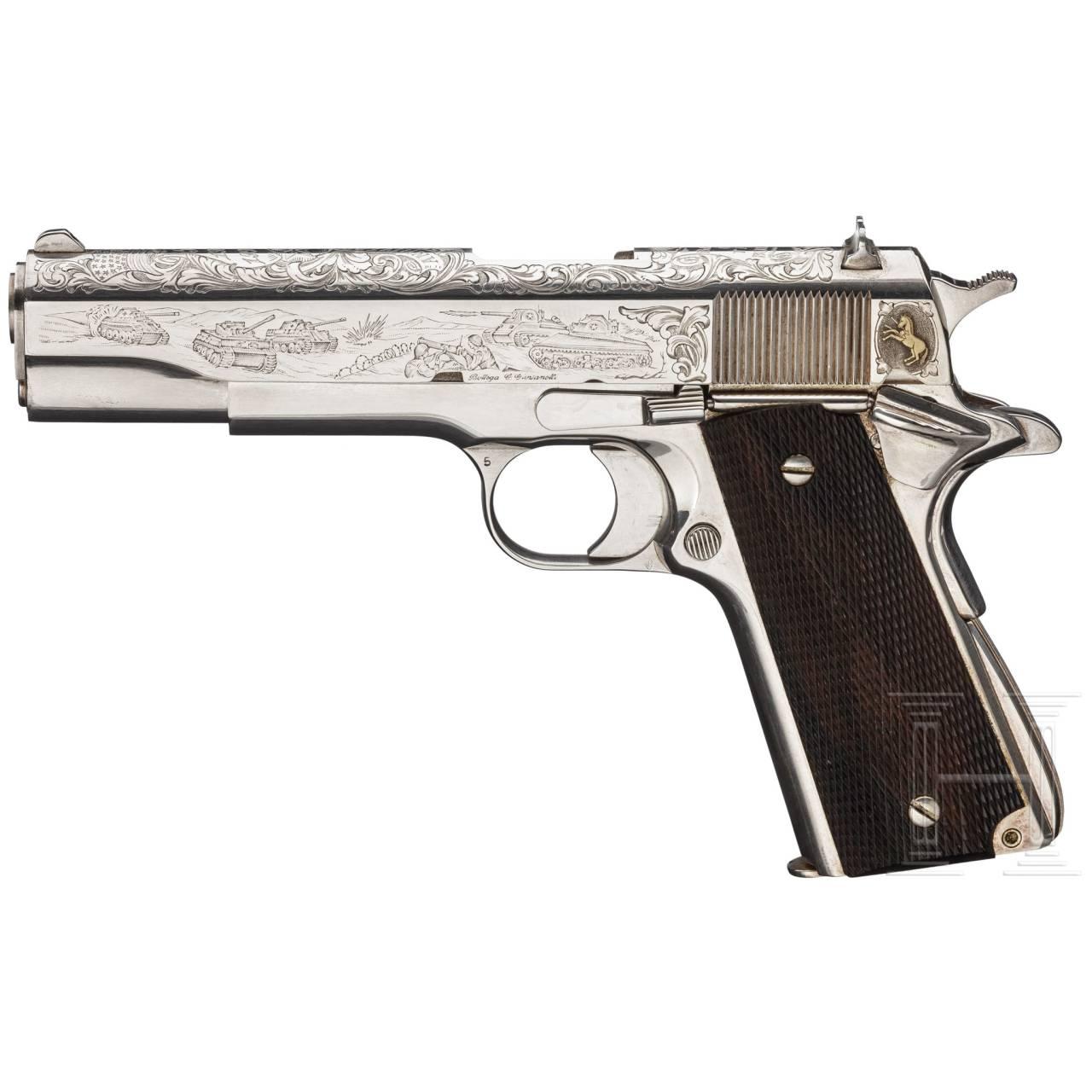 "Colt Mod. 1911 A 1, Commemorative ""50th 1944/1994 Anniversary ""Battle of the Bulge"" (Ardennen- Offensive), versilbert, im Kasten"