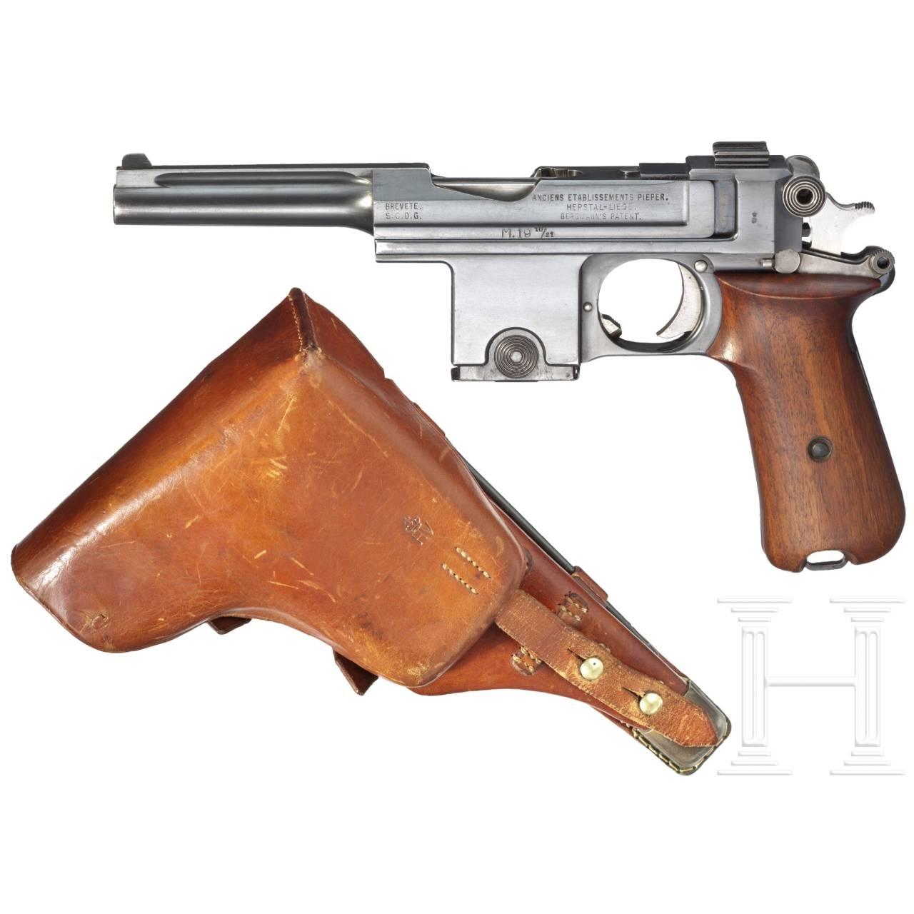 A Bergmann M1910/21, with hard-shell holster