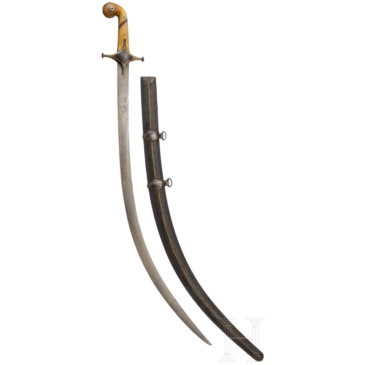 An Ottoman/Persian shamshir with a fine wootz-Damascus blade, circa 1800