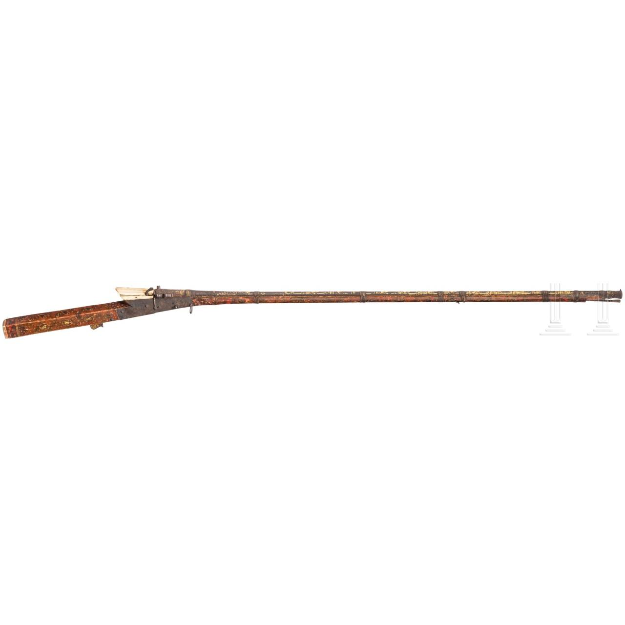 An Indian matchlock musket with gold inlaid barrel, ca. 1800
