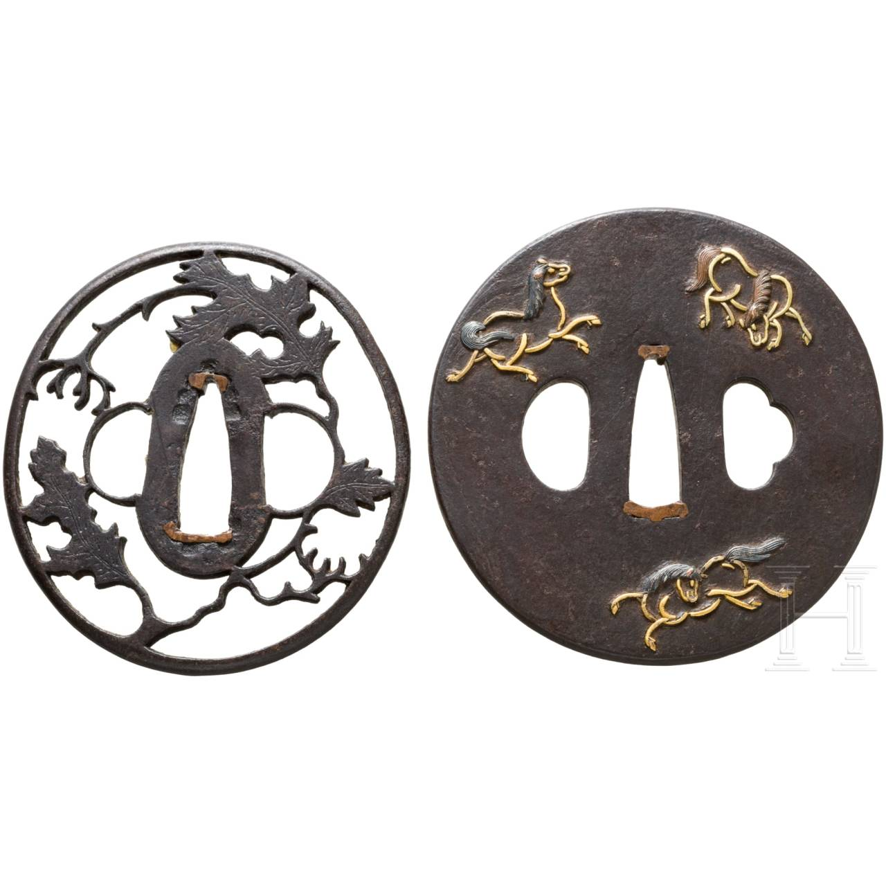 Two Japanese tsubas, Edo/Meiji period