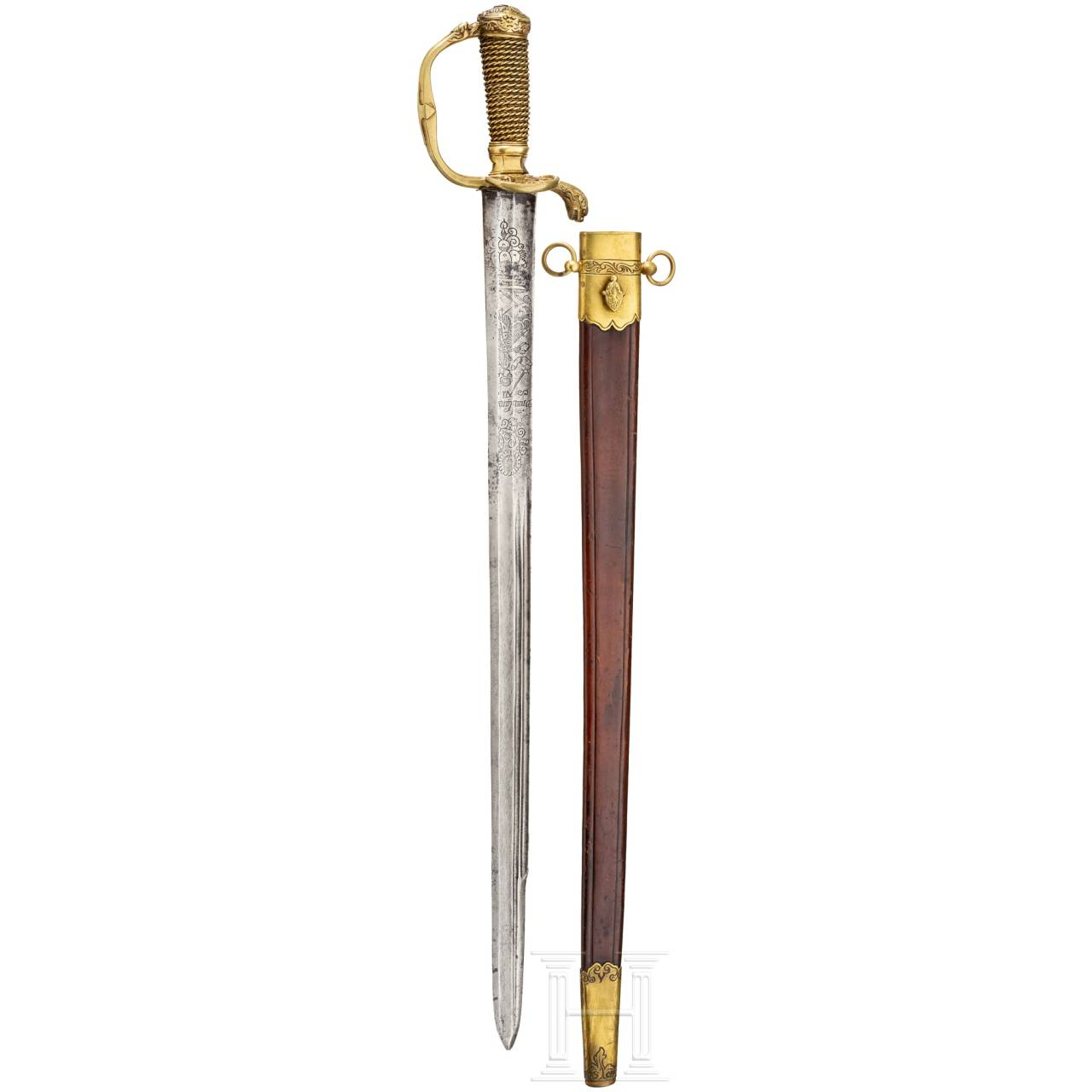 A German hunting sword with scabbard, 18th century