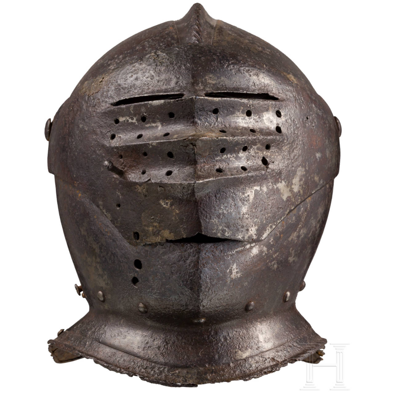 An early and rare South German Maximilian style close helmet, Nuremberg, circa 1510
