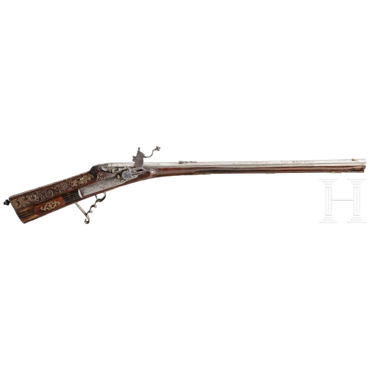 An Austrian wheellock rifle by J.Oberkogler, Linz, circa 1730