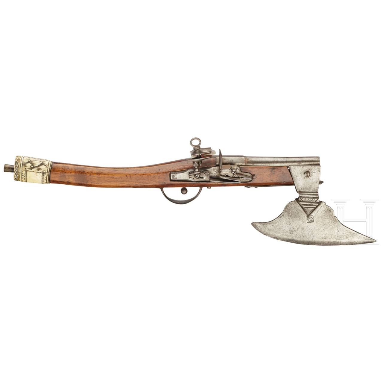 A rare battle axe with integrated flintlock pistol, probably Saxony, 18th century
